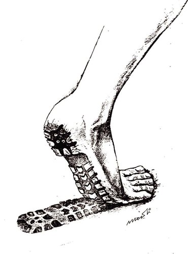 Cartoon: the feet (medium) by Medi Belortaja tagged leg,poverty,feet,track,shoe