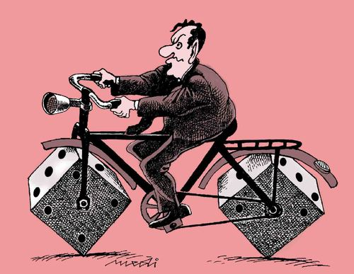 Cartoon: to casino (medium) by Medi Belortaja tagged gambling,bike,plunger,dibs