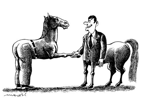 Cartoon: two friends (medium) by Medi Belortaja tagged humor,man,horse,gandhake