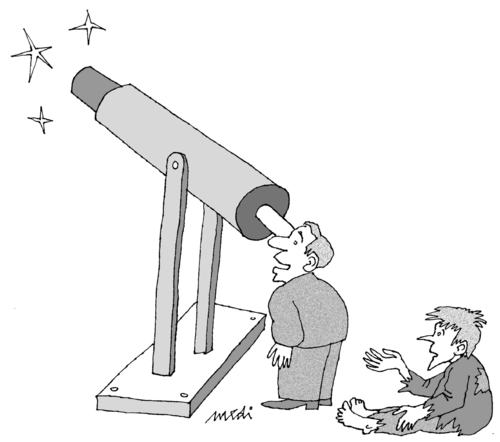 Cartoon: science and poverty (medium) by Medi Belortaja tagged poverty,telescope,astronomy