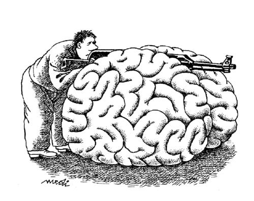 Cartoon: SAP brain (medium) by Medi Belortaja tagged brain,sap,war,gun