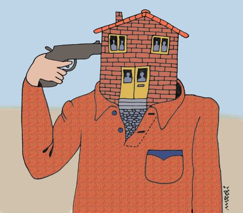 Cartoon: suicide house (medium) by Medi Belortaja tagged house,suicide,gun