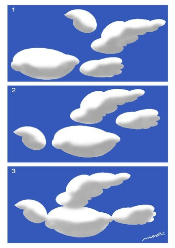 Cartoon: evolution of clouds (medium) by Medi Belortaja tagged dove,pigeon,birds,colombo,clouds,sky
