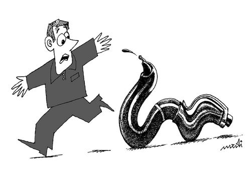 Cartoon: snake fountain pen (medium) by Medi Belortaja tagged speech,freedom,pen,fountain,snake,fear,press