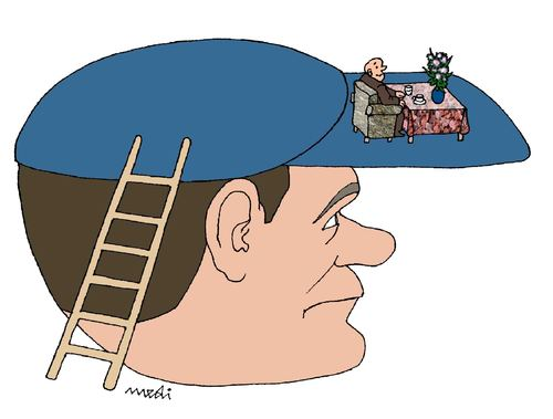 Cartoon: worker and master (medium) by Medi Belortaja tagged relax,hat,shelter,master,worker
