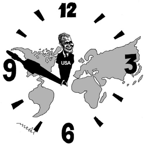 Cartoon: world time (medium) by Medi Belortaja tagged time,world,clock,continents,bush,usa