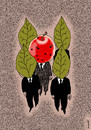 Cartoon: bodyguards and chief (small) by Medi Belortaja tagged bodyguards,gead,chief,apple,worms,leafes