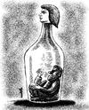 Cartoon: bottle (small) by Medi Belortaja tagged bottle,man,won,wife,husband,imprisoned