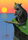 Cartoon: fishercat (small) by Medi Belortaja tagged fish,fishing,fisherman,cat,tail