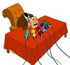 Cartoon: head press conference (small) by Medi Belortaja tagged head,press,conference,speech,chief,media,microphones