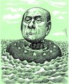 Cartoon: Silvio Berlusconi between waves (small) by Medi Belortaja tagged silvio,berlusconi,between,waves,eu,stars
