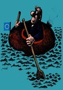 Cartoon: The desperate drive (small) by Medi Belortaja tagged boat,eu,europe,submersion,crisis,flag