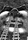 Cartoon: train tunnels (small) by Medi Belortaja tagged train,tunnels,nose,railways,face,trip