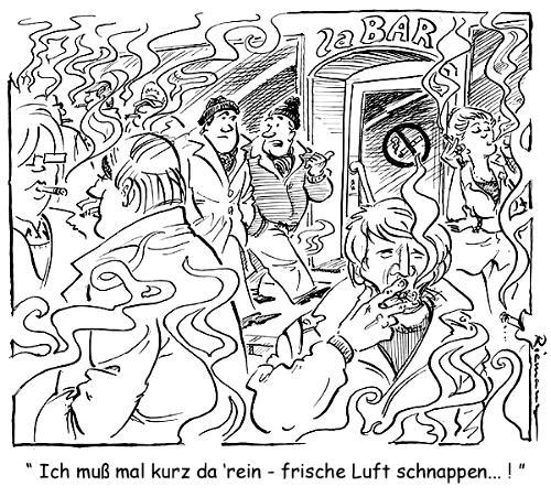 Cartoon: Frischluft (medium) by Riemann tagged smoking,ban,rauchverbot,frischluft,fresh,air,outside,bar,