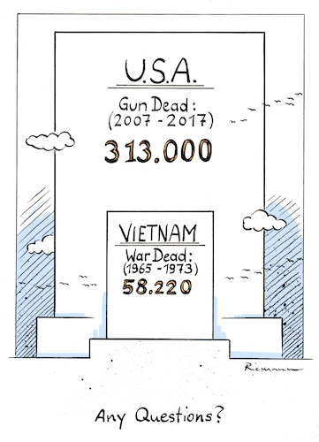 Cartoon: Gun Victims (medium) by Riemann tagged guns,gun,violence,victims,usa,nra,laws,safety,vietnam,war,cartoon,george,riemann,guns,gun,violence,victims,usa,nra,laws,safety,vietnam,war,cartoon,george,riemann