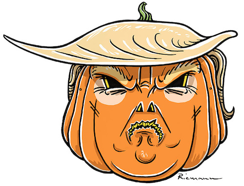 Cartoon: Trump Maske (medium) by Riemann tagged president,trump,maske,halloween,horror,pumpkin,kürbis,papiermaske,ausschneiden,donald,mask,cut,out,george,riemann