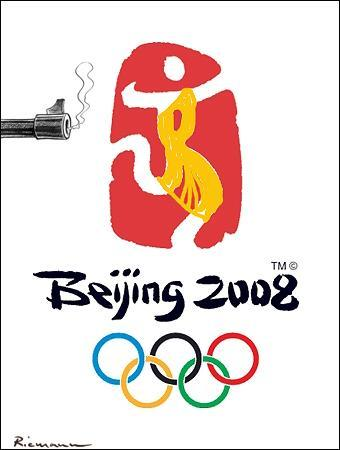 Cartoon: Unofficial Olympic Logo (medium) by Riemann tagged tibet,monks,china,oppression,olympic,games,2008,logo,