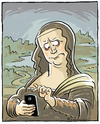 Cartoon: Mona Lisa (small) by Riemann tagged mona,lisa,smile,handy,smart,phone,iphone,modern,life,internet,old,masters,leonardo,da,vinci,cartoon,george,riemannt