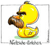 Cartoon: Nietzsche (small) by Riemann tagged nietzsche,quietscheente,gummiente,wortspiel,cartoon,george,riemann