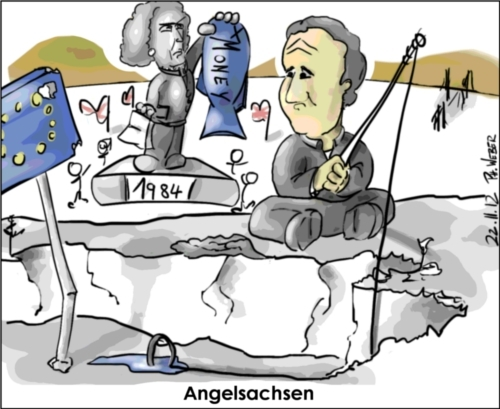 Cartoon: EU Gipfel (medium) by Philipp Weber tagged england,eu,widerstand,thatcher,cameron,money,back