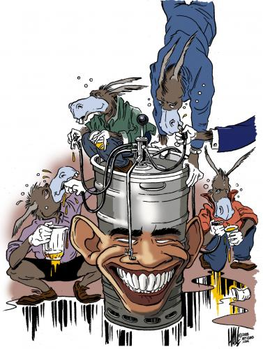 Cartoon: Baraxicated (medium) by halltoons tagged obama,democrats,donkeys