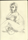 Cartoon: Jessica Three-quarter Turn (small) by halltoons tagged girl,woman,model,pen,drawing,sketch,nude