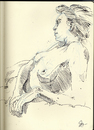Cartoon: Reclining Model (small) by halltoons tagged model,female,drawing,sketch,pen
