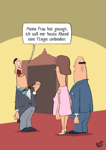 Cartoon: Fliege (medium) by luftzone tagged thomas,luft,cartoon,lustig,fliege,flachwitz,theater,oper,mann,frau,paar,thomas,luft,cartoon,lustig,fliege,flachwitz,theater,oper,mann,frau,paar