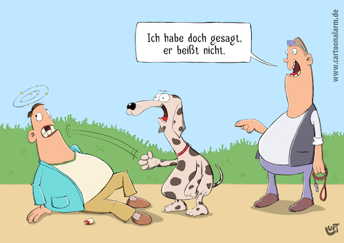 Cartoon: Sag ich doch (medium) by luftzone tagged thomas,luft,cartoon,lustig,biss,beißen,hund,dog,schlag,faust,zahn,leine,herrchen,gassi,tier,thomas,luft,cartoon,lustig,biss,beißen,hund,dog,schlag,faust,zahn,leine,herrchen,gassi,tier