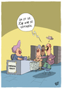 Cartoon: Gefunden (small) by luftzone tagged cartoon,thomas,luft,lustig,verkäuferin,suche,supermarkt,kasse,kunden