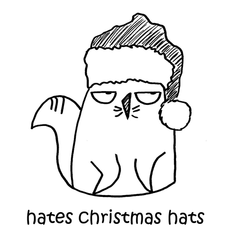 Cartoon: One Cats Thoughts (medium) by DebsLeigh tagged cat,cartoon,feline,animal,christmas,hat,cute