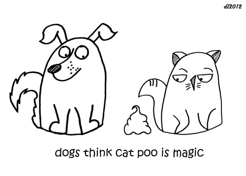 Cartoon: One Cats Thoughts (medium) by DebsLeigh tagged cat,kitty,thoughts,feline,dog,poop,poo,animal