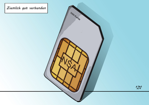Cartoon: Gut verbunden (medium) by A Tale tagged sim,karte,chip,handy,smartphone,verbindungen,telefonate,gehackt,hacker,hack,nsa,gchq,usa,england,geheimdienst,spionage,abhoeren,anzapfen,daten,telekommunikation,provider,verschluesselungscode,geknackt,spaeh,attacke,enthuellung,the,intercept,whistkeblower,edward,snowden,gemalto,politik,sicherheit,privatsphaere,cartoon,karikatur,illustration,sim,karte,chip,handy,smartphone,verbindungen,telefonate,gehackt,hacker,hack,nsa,gchq,usa,england,geheimdienst,spionage,abhoeren,anzapfen,daten,telekommunikation,provider,verschluesselungscode,geknackt,spaeh,attacke,enthuellung,the,intercept,whistkeblower,edward,snowden,gemalto,politik,sicherheit,privatsphaere,cartoon,karikatur,illustration