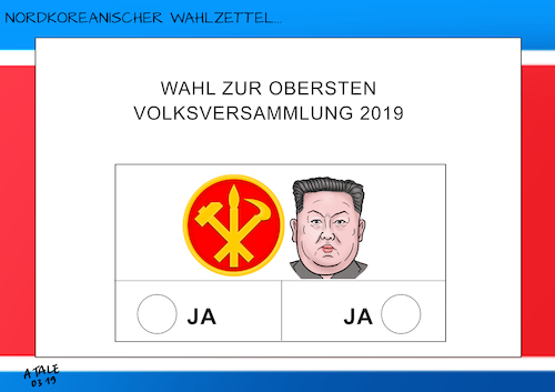 Cartoon: Wahl in Nordkorea (medium) by A Tale tagged nordkorea,wahl,parlament,volksversammlung,kim,jong,un,blockpartei,einheitspartei,scheinwahl,farce,diktatur,politik,karikatur,cartoon,pressezeichnung,illustration,tale,agostino,natale,nordkorea,wahl,parlament,volksversammlung,kim,jong,un,blockpartei,einheitspartei,scheinwahl,farce,diktatur,politik,karikatur,cartoon,pressezeichnung,illustration,tale,agostino,natale