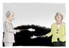 Cartoon: Berührungsängste (small) by A Tale tagged angela merkel wladimir putin bundeskanzlerin russland ukraine konflikt streit krise annexion krim dday treffen diplomatie annaeherung gespraeche sanktionen verhaeltnis gestoert frostig handshake haende geben karikatur politik