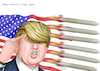 Cartoon: Make America crazy again (small) by A Tale tagged usa präsident donald trump amerika raketanangriffe muskelspiele drohungen nordkorea kim jong un eskalation raketen marschflugkörper aggressive außenpolitik kalter krieg provokation politik karikatur cartoon tale agostino natale