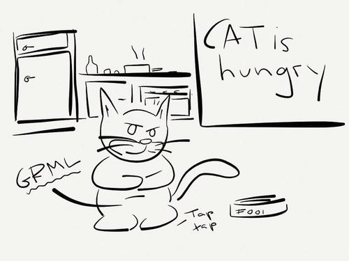 Cartoon: Cat is hungry (medium) by Umsturzworte tagged cat,katze,hunger,essen
