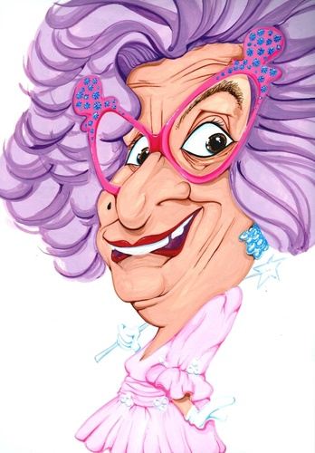 Cartoon: Dame Edna (medium) by Andyp57 tagged caricature,gouache,andyp57