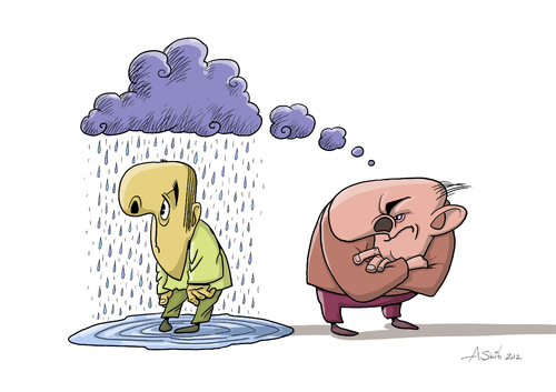 Cartoon: Thought-cloud (medium) by Alex Skibelsky tagged badly,thought,cloud,negative,malice,rain,think,evil,unhappy,victim,wet