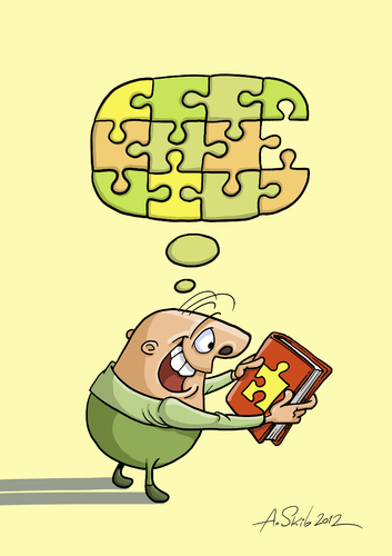 Cartoon: Thought-puzzle (medium) by Alex Skibelsky tagged book,thought,puzzle,piece,joy,thinking,reading,happiness,wisdom,knowledge,mindset