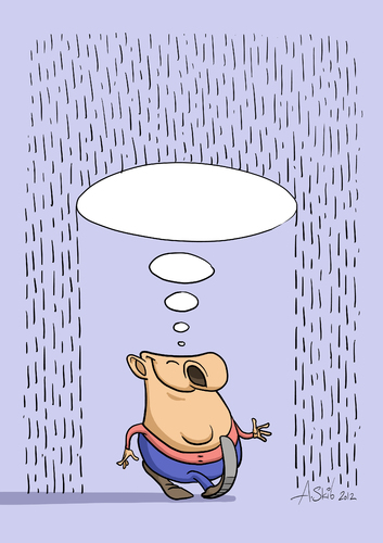 Cartoon: Thought-umbrella (medium) by Alex Skibelsky tagged positive,thinking,thought,rain,nuisance,problem,joy,happiness,man,philosophy,wisdom