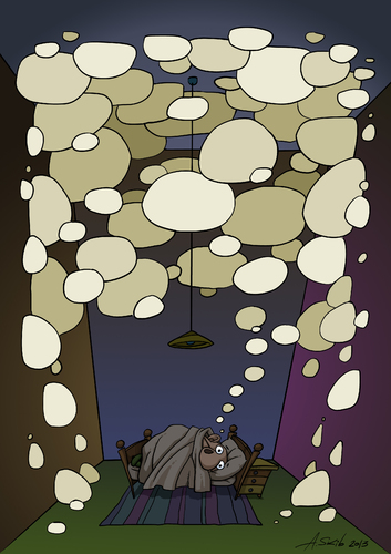 Cartoon: Thoughts hinder sleep (medium) by Alex Skibelsky tagged thoughts,thought,thinking,dream,insomnia,sleep,bed,night,bedroom,blanket,pillow