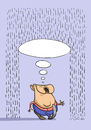 Cartoon: Thought-umbrella (small) by Alex Skibelsky tagged positive,thinking,thought,rain,nuisance,problem,joy,happiness,man,philosophy,wisdom