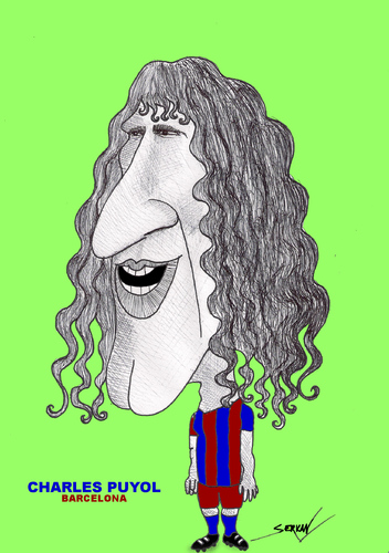 Cartoon: CHARLES PUYOL (medium) by serkan surek tagged surekcartoons