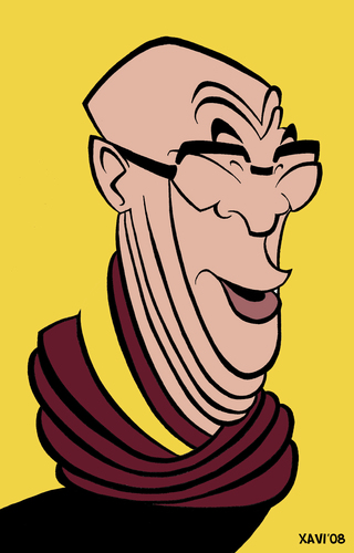 Cartoon: Dalai Lama (medium) by Xavi Caricatura tagged politics,china,tibet,lama,dalai,dalai,lama,tibet,menschenrechte,autorität,kultur,buddhismus,reinkarnation,mönch,religion,karikatur,portrait,mann,gesicht,dalai lama