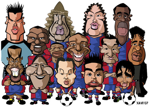 Cartoon: FC Barcelona 2007 (medium) by Xavi Caricatura tagged rickjaard,deco,henry,etoo,ronaldinho,messi,soccer,football,barcelona,fc,fc,barcelona,2007,fussball,fußball,mannschaft,team,spanien,karikatur,gruppe