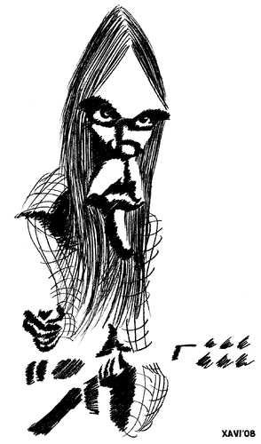 Cartoon: Neil Young (medium) by Xavi Caricatura tagged art,rock,music,caricature,young,neil
