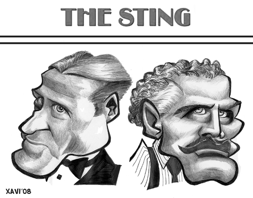 Cartoon: The Sting (medium) by Xavi Caricatura tagged the,sting,robert,redford,paul,newman,cinema,film,hollywood,star,oscar,sting,robert redford,paul newman,film,kino,george roy hill,ragtime,gershwin,entertainer,klassiker,juwel,oscar,darsteller