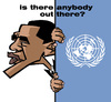 Cartoon: is there anybody out there? (small) by Xavi Caricatura tagged obama,barack,caricature,caricatura,un,onu,united,nations,naciones,unidas
