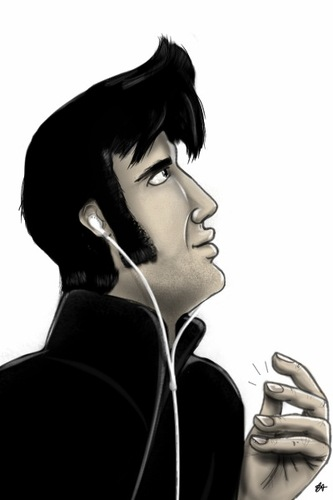 Cartoon: Apple is pop. Elvis is the King. (medium) by cesar mascarenhas tagged elvis,king,ipod,touch,hair,is